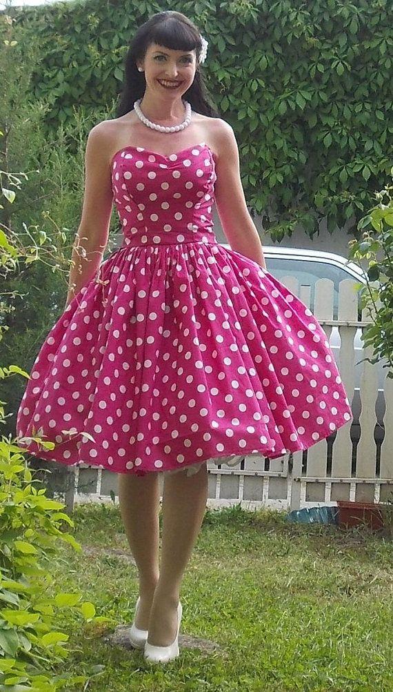 Pinup dress 'Rockabilly Girl', fuchsia pink /green/blue/yellow dot full skirt 1950s retro Vintage style dress, rockabilly dress, strapeless