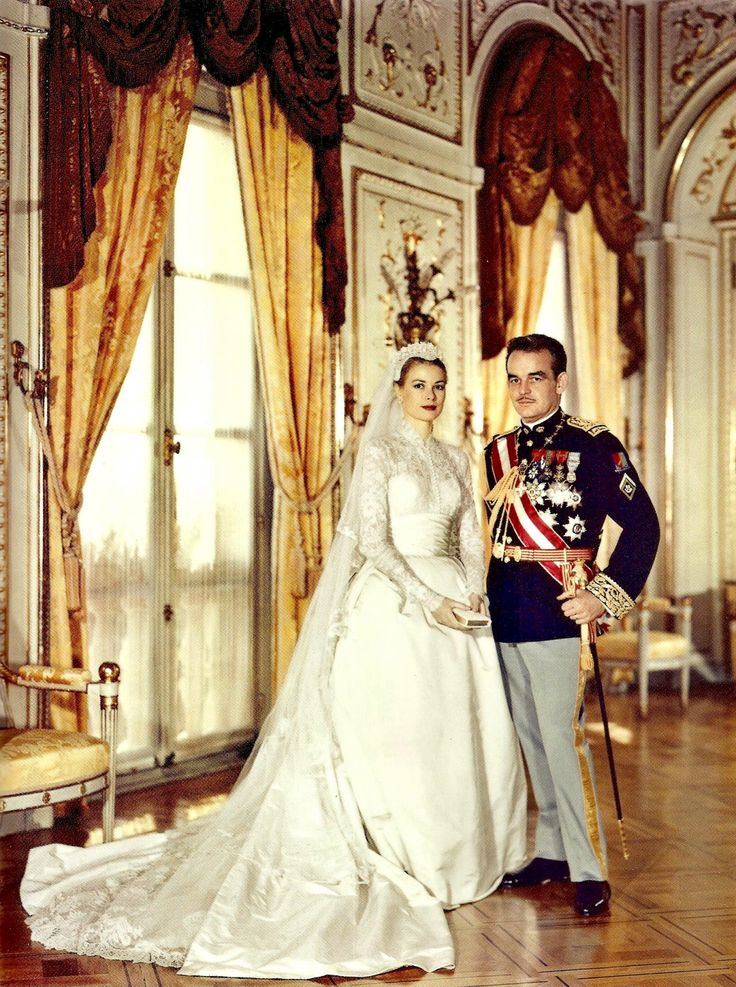 """dosesofgrace: """"• Grace and Rainier's religious wedding ceremony - 19 April 1956 """"""""Although Grace Kelly had played brides in High Noon and High Society, those roles had not called for traditional bridal gowns; thus, her appearance in the wedding..."""