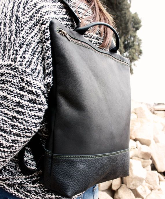 Leather Backpack black backpack woman craft leather by Nubuckcuir