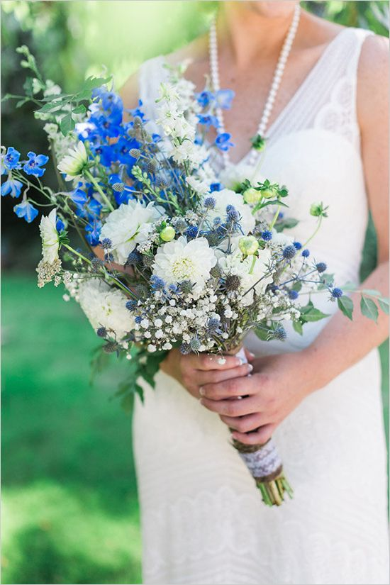 wild blue and white wedding bouquet by Stemm Floral @weddingchicks