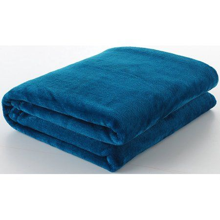 Ottomanson Comfy Soft Touch Velvet Plush Polyester Throw Blanket, 49 inch X 61 inch, Blue