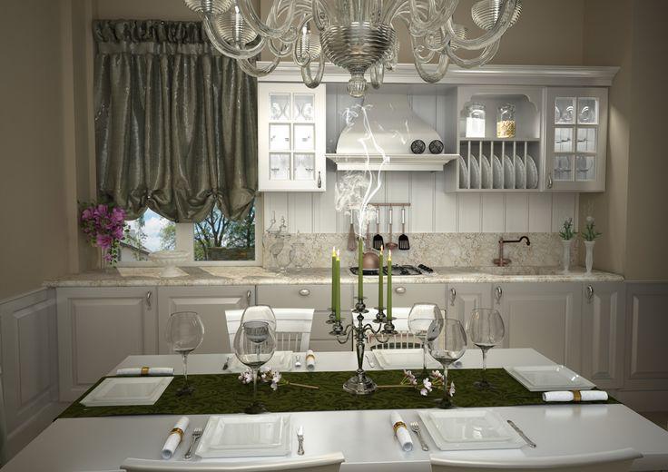 Render di una cucina dalle linee classiche in finitura laccata bianco opaco.