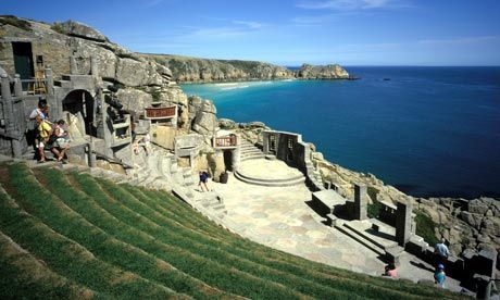 The Minack Theatre, Porthcurno, Cornwall. If you're really lucky, you might see a basking shark swimming in the crystal clear water below