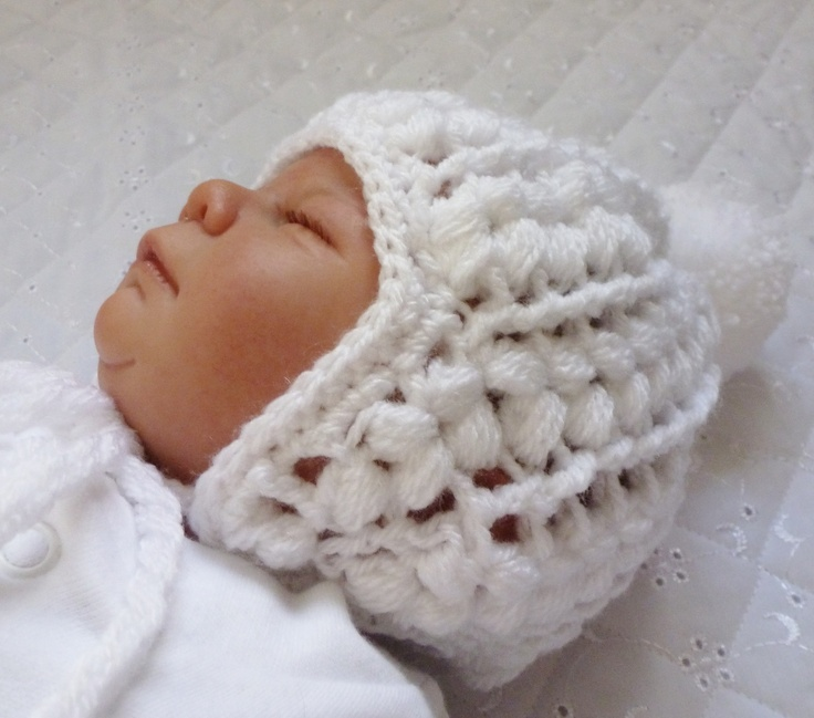 """Baby crochet hat being worn by my reborn """" Cameo"""""""