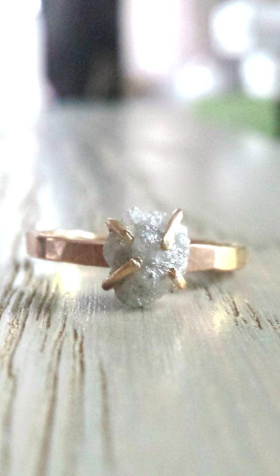 Raw Diamond Ring Gold Engagement Ring Large Rough by Gemologies