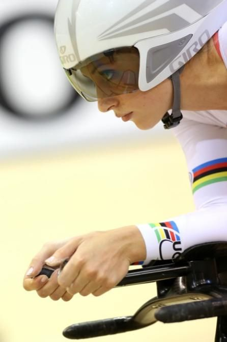 Laura Trott (Great Britain) focused on the start of her Omnium pursuit.