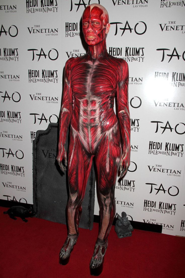 Heidi Klum arrived on a mortuary table under a white sheet before being unveiled in all her gruesome glory for her 12th annual Halloween party at Tao Nightclub at The Venetian Hotel and casino in Las Vegas