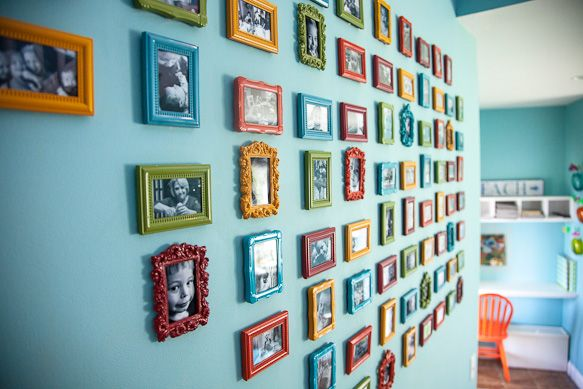 Love all the colors.: Diy Ideas, Photo Display, Frames, Photo Wall, Gallery Wall, Craft Ideas