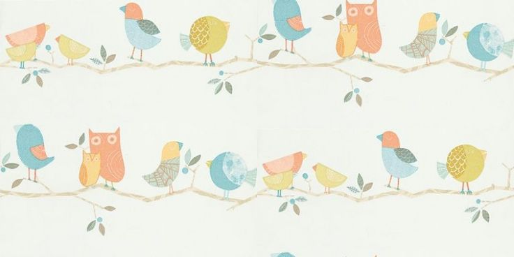 What-a-Hoot (70516) - Harlequin Wallpapers - Cute, cartoon decorative birds and Owls on a horizontal branch design – makes a fun nursery print giving a stripe effect.  Shown in the muted orange and blue on blue version. Please request a sample for true colour match