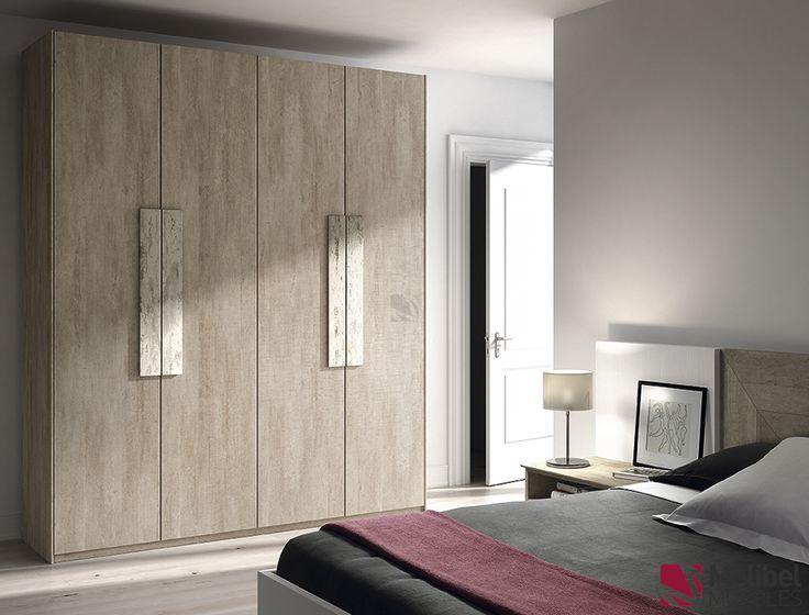 Armario puertas batientes tirador biselado muebles for Armario de madera conforama
