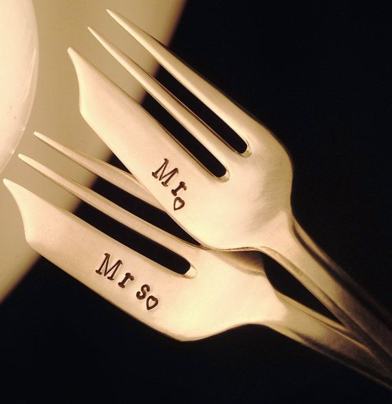 MR MRS Forks: Hand Stamped Pastry Forks, Wedding Gift, Chevron Pattern, Antique Silver Forks, Hearts, Ready To SHIP by AmySueCrafts #petite #pastry #heart #hearts #wedding #bride #brides #groom #grooms #gift #silver #forks #reception #cake #recycled #Etsy #bridal #personalized #custom #shower #initials #date #engagement #engaged #vintage #flatware #antique #silverware #set #elegant #decor #handmade #handcrafted #hand_stamped #engraved #old #keepsake #husband #wife #mr #mrs #chevron