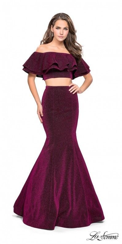 Embrace you gorgeous curves in this off the shoulder tiered jersey two piece mermaid prom dress by La Femme. #edressme