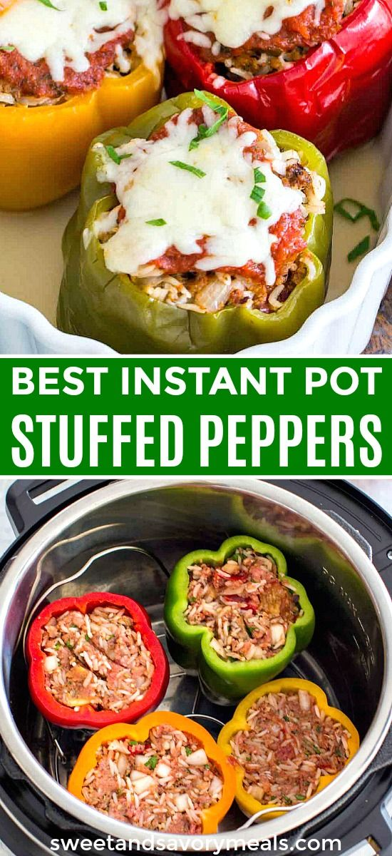 Easy Instant Pot Stuffed Pepper with Beef and Rice.