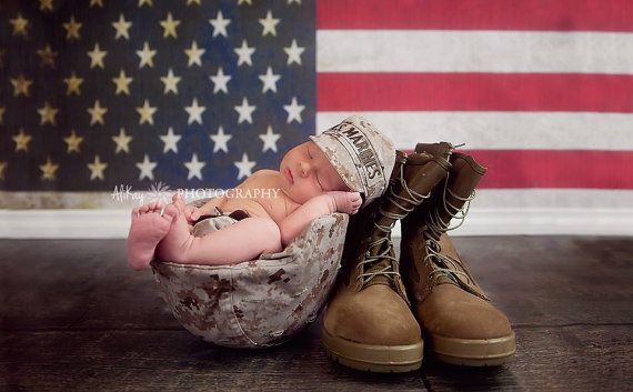 Infant Military Caps  US Marines by KaseyCreations on Etsy, $20.00 - Pretty sure my heart just melted