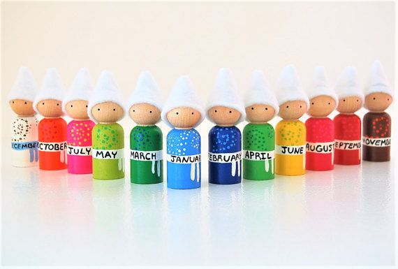 Maanden van het jaar Dolls - educatief speelgoed - leren spel - unieke Gift - Peg Doll - Zooble