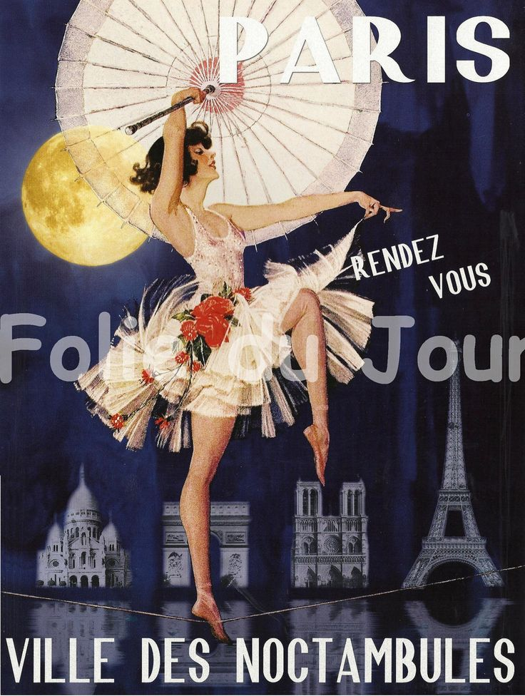 EIFFEL TOWER Paris by Night french poster wall decor - ballet dancer, ballerina with parasol. $ 12.00.
