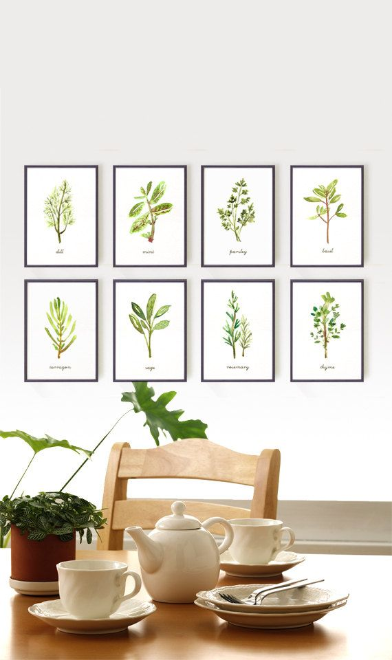 Herb print watercolor art, Set of 8 5x7 / 4x6  Kitchen art, Botanical print set, Culinary print, Print set, Wall decor Green Spring decor