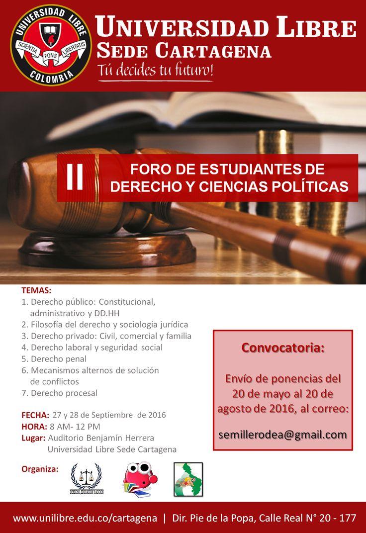 Segundo Foro de Estudiantes de Derecho y Ciencias Políticas. Designed by Alan Herrera.