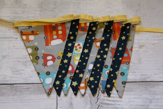 Cars and Stars Bunting by CoppersHollowBunting on Etsy