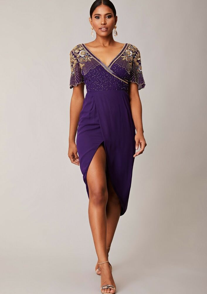 Virgos Lounge Davina Blush Embellished Cold Shoulder Party Long Dress 10 to 14