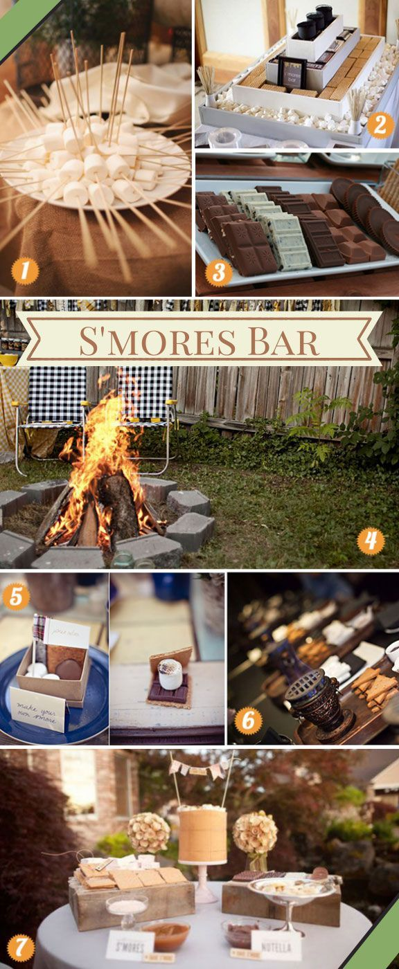 A s'mores bar how-to guide! Inspiring and stylish ways to plan a s'mores bar at your wedding! #smoresbar #smoreswedding #smores