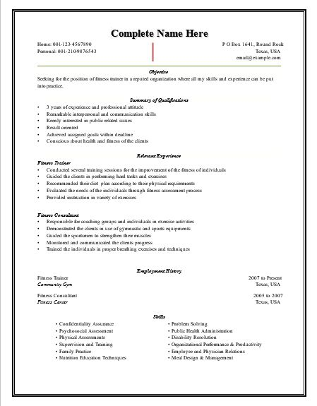 Best 25+ Resume template free ideas on Pinterest Resume - fitness instructor resume sample