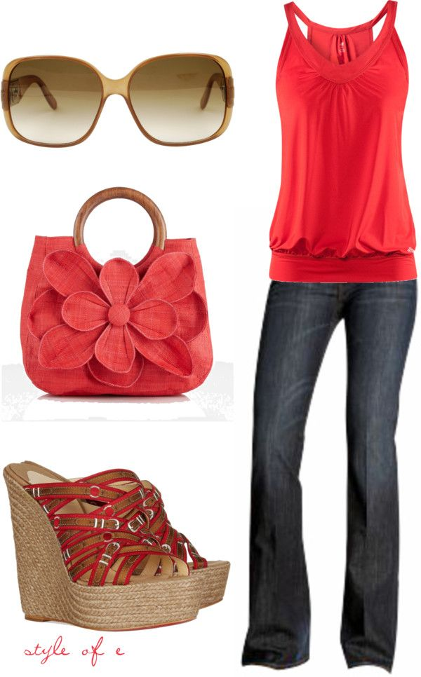 """""""Summer Red"""" by styleofe on Polyvore. I love the top and would have a different purse. dont really like the purse....."""