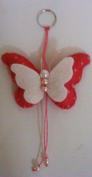 Chaveiro de borboleta em feltro