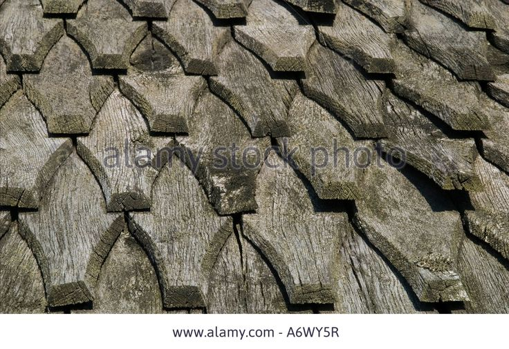 Shingle roof at a Viking house from Trelleborg Slagelse Denmark                                                                                                                                                                                 More