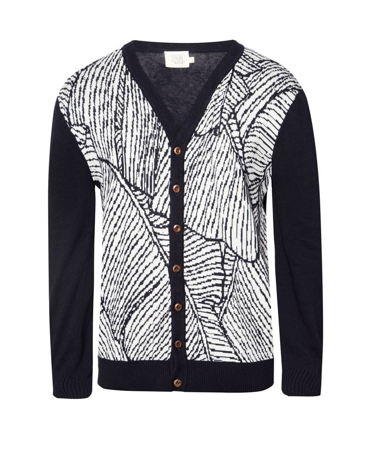 Foliage V-Neck Cardigan by 24:01. Appearing relaxed with a collection cardigan from 24:01. Foliage V-Neck Cardigan featuring classic design with abstract motifs to wood studs give statements look ethnic nuances in a masculine color combination. http://www.zocko.com/z/JJpcF