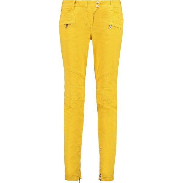 Balmain Mid-rise skinny jeans ($230) ❤ liked on Polyvore featuring jeans, pants, balmain, yellow, medium rise jeans, denim skinny jeans, skinny fit denim jeans and yellow jeans