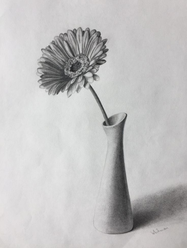 $80  Gerbera flower in a vase, still life sketch. Original art, graphite pencil drawing by Elena Whitman.