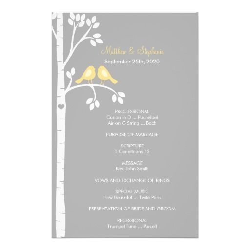 Birch Trees & Love Birds Wedding Program Flyers