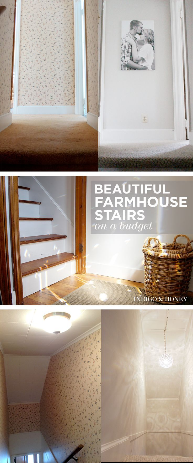 Affordable, step-by-step guide to creating fresh, farmhouse stairs!