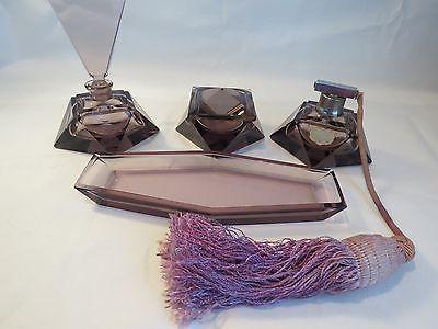 Vintage-4-pc-Art-Deco-German-Crystal-Vanity-Dresser-Perfume-Set-Purple-Amethyst