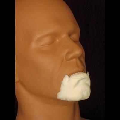 Professional FX makeup appliance chin and lower lip prosthetic. Provides a very gruff look to any model it is applied to. For professional use only. Made of foa