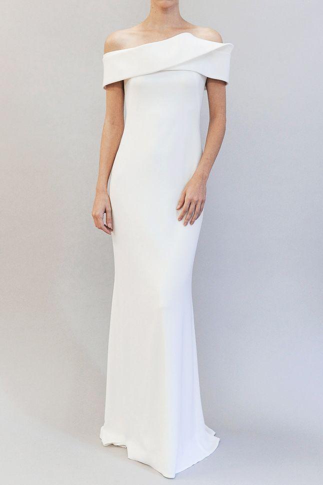 off the shoulder traditional wedding gown   Austin Scarlett