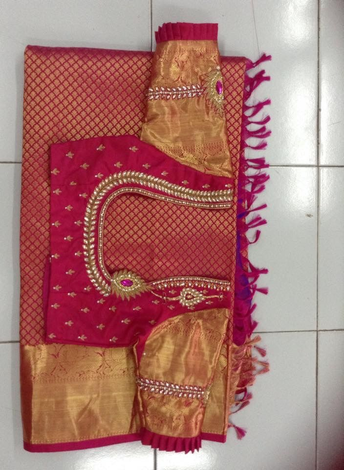 Simple embroidery for pattu blouse