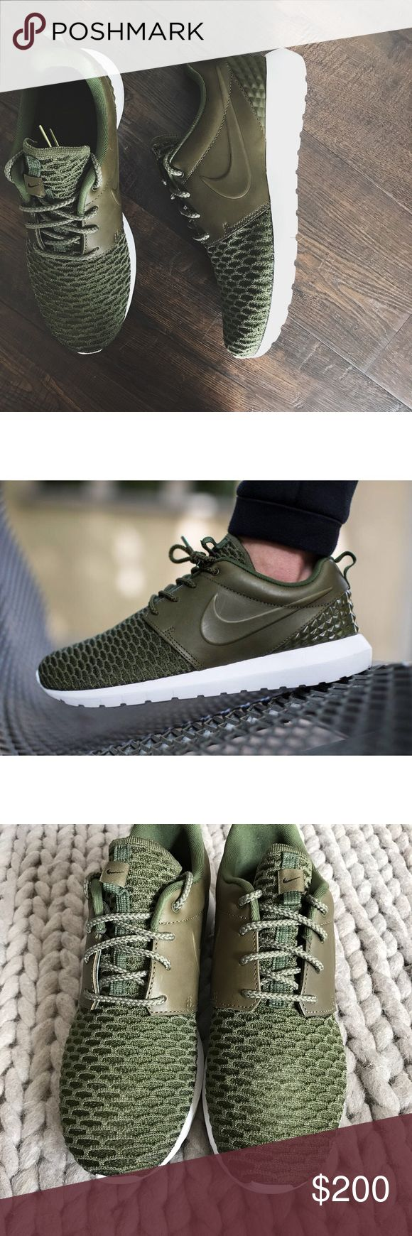 """Nike Roshe Leather + Flyknit Sneakers •Premium Roshe sneakers in """"Rough Green"""". Extremely rare size.  •This is a unisex shoe and they're a Men's 6.5/Women's 8. Best for a normal to wide width foot.  •New in box, no lid.  •NO TRADES/HOLDS/PAYPAL/MERC/VINTED/NONSENSE. Nike Shoes Sneakers"""
