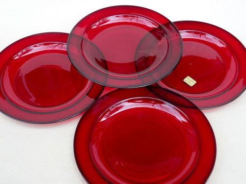 Vintage Unused Arcoroc France Soup Salad Bowls Ruby Red Glassware Original Label & 85 best Ruby Red Glassware images by Pamela Silbaugh on Pinterest ...