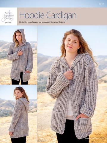 Wrap yourself in casual style with this versatile hooded cardigan! Includes sizes S (M, L, XL, 2XL, 3XL). Sample made using 9 (10, 12, 13, 14, 15) skeins of Plymouth Encore worsted-weight yarn. Finish