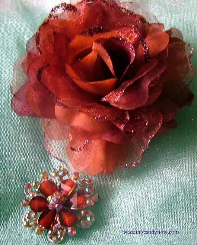 Orange corsage Brooch