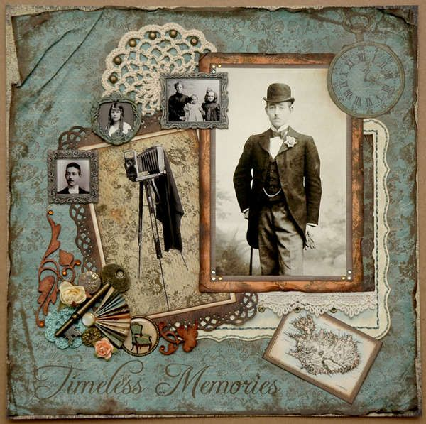 Timeless Memories ~ Wonderful heritage colors and a great mix of vintage images and objects.