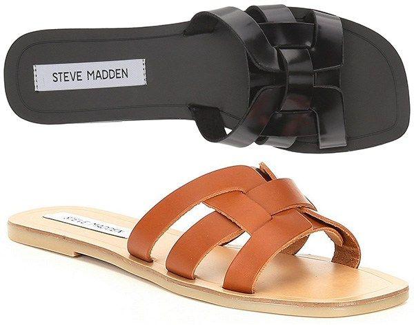 02874d8bba8 Steve Madden Sicily Slide Sandals in black and cognac brown (Saint Laurent  YSL Tribute Nu