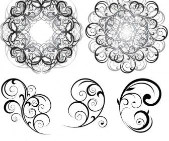 Free Vector Art Swirls | Set of vector Swirl nature ornaments with decorative leaves for your ...