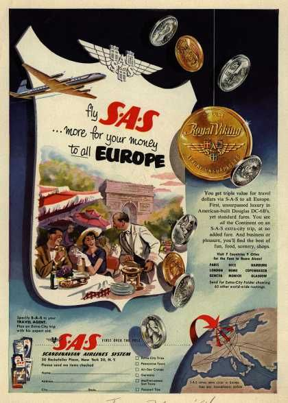 Scandinavian Airlines System's Europe – Fly SAS ...more for your money to all Europe (1954)