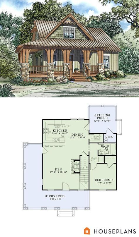 craftsman cottage plan 1300sft 3br 2 ba plan #17-2450 I WANT