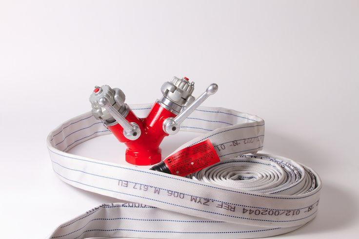 Sistemas de detección contra incendios: válvula siamesa y manguera BIE.