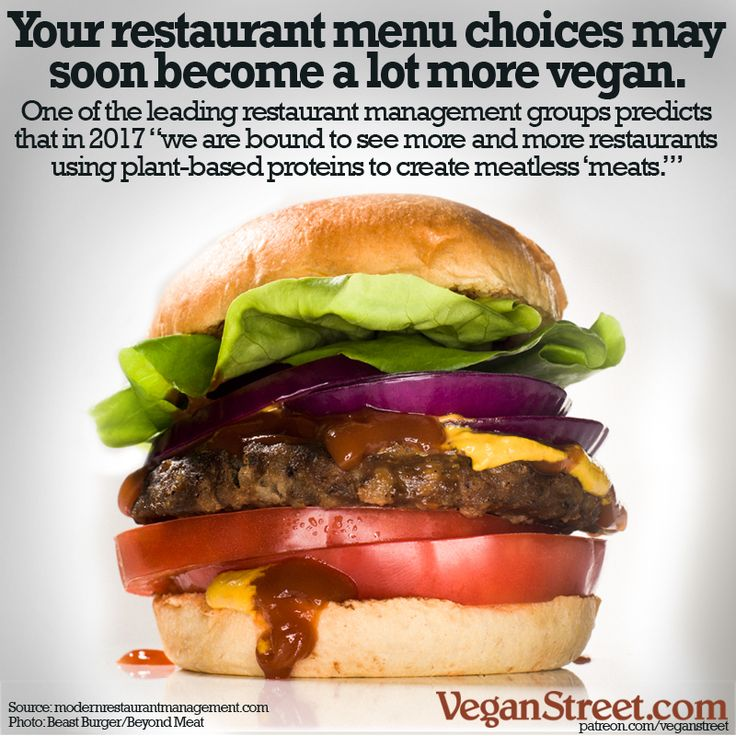 We've heard this from a few sources now - this is the latest: one of the biggest trends in restaurant marketing is increased offerings in plant-based proteins. As vegan meats get better and better, more and more restaurants are putting them on the menu, and that trend is expected to grow. Bon appetit! http://veganstreet.com/dailymeme-1-2-17.html
