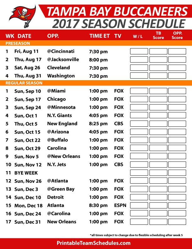 Tampa Bay Buccaneers Football Schedule 2017